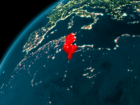 Night map of Tunisia as seen from space on planet Earth. 3D illustration. Stock Photo