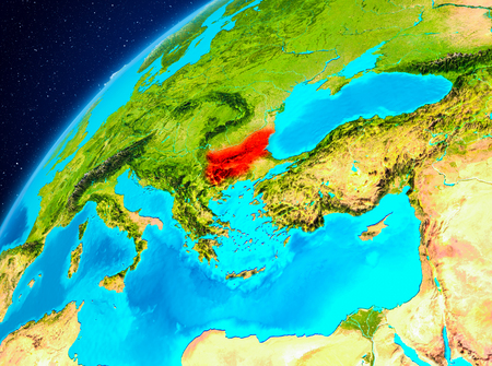 Orbit view of Bulgaria highlighted in red on planet Earth. 3D illustration.