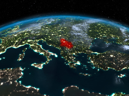 Satellite night view of Serbia highlighted in red on planet Earth with clouds. 3D illustration.