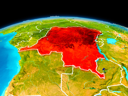 Satellite view of Democratic Republic of Congo highlighted in red on planet Earth with borderlines. 3D illustration. Stock Photo