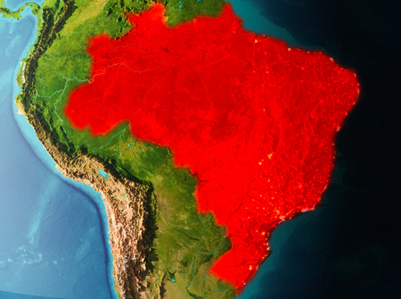 Brazil in early morning light highlighted in red on planet Earth. 3D illustration.