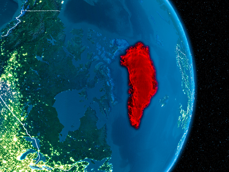 Greenland from orbit of planet Earth at night with visible borderlines and city lights. 3D illustration.