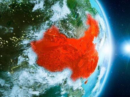China vanuit baan van planeet Aarde met wolken tijdens zonsopgang met hoogst gedetailleerde oppervlaktetexturen. 3D illustratie.