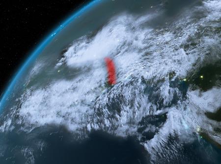 Illustration of Togo as seen from Earth's orbit at night. 3D illustration. Stok Fotoğraf