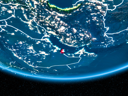 Qatar in red with visible country borders and city lights from space at night. 3D illustration. Stock Photo