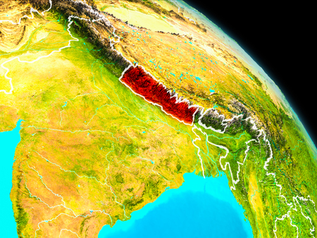 Space orbit view of Nepal highlighted in red on planet Earth with visible borders. 3D illustration. Stock Photo