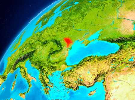 Orbit view of Moldova highlighted in red on planet Earth. 3D illustration. Stock Photo