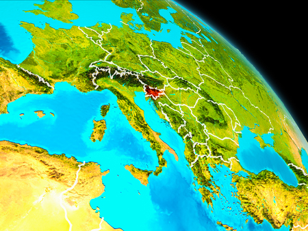 Space orbit view of Slovenia highlighted in red on planet Earth with visible borders. 3D illustration.