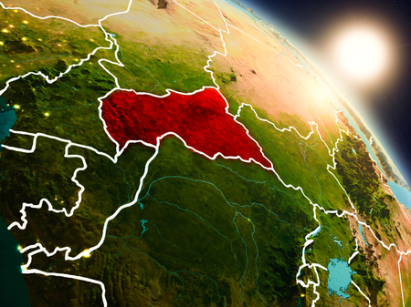 Sunset above Central Africa from space on planet Earth with visible country borders. 3D illustration. Stock Photo