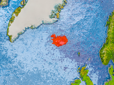 Iceland in red on realistic map with embossed countries. 3D illustration.