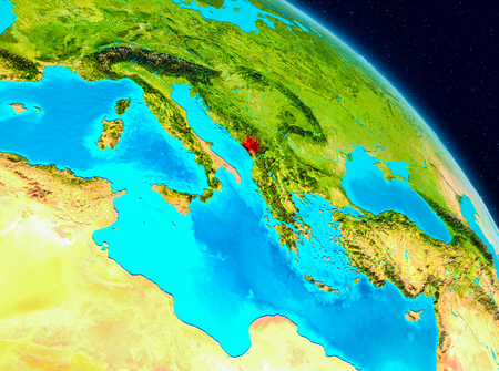 Space view of Montenegro highlighted in red on planet Earth. 3D illustration.