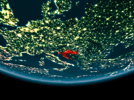 Croatia at night highlighted in red on planet Earth. 3D illustration.