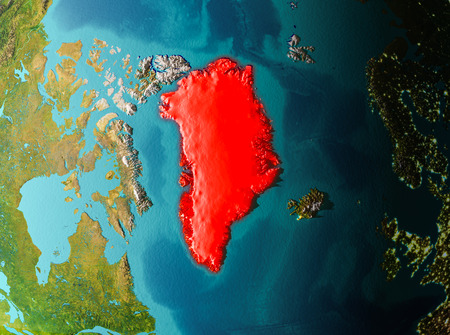 Greenland in early morning light highlighted in red on planet Earth. 3D illustration. Stock Photo