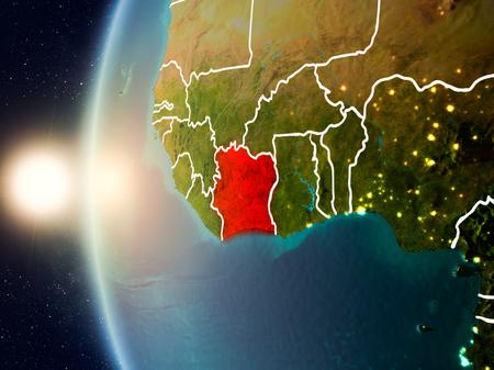 Illustratie van Ivoorkust gezien vanuit de baan van de aarde tijdens zonsondergang met zichtbare landsgrenzen. 3D illustratie Stockfoto