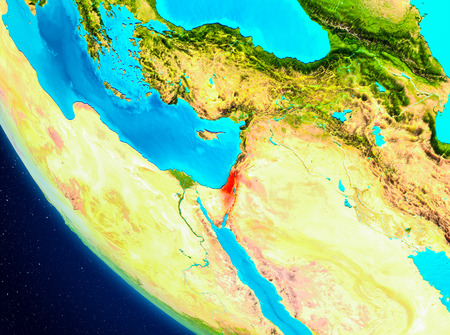 Israel highlighted in red on planet Earth. 3D illustration.