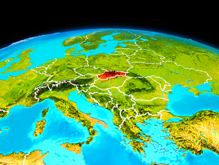 Satellite view of Slovakia highlighted in red on planet Earth with borderlines. 3D illustration. Stock Photo