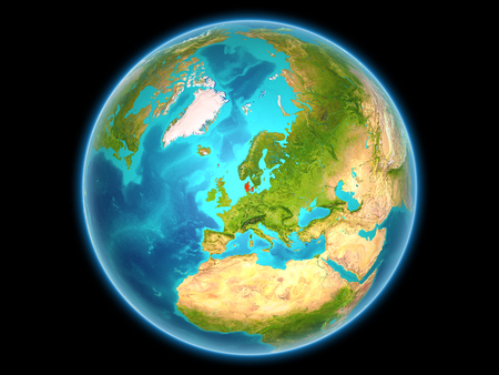Denmark in red on planet Earth as seen from space on full sphere. 3D illustration. Stock Photo