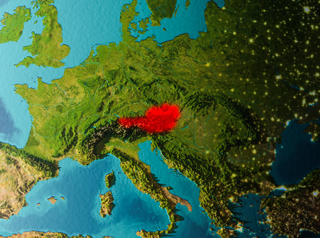 Austria in early morning light highlighted in red on planet Earth. 3D illustration.