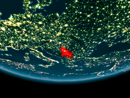 Serbia at night highlighted in red on planet Earth. 3D illustration.