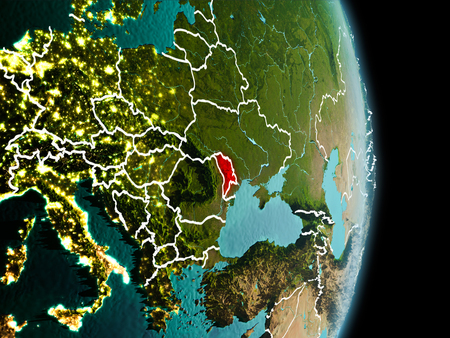 Satellite morning view of Moldova highlighted in red on planet Earth with visible border lines and city lights. 3D illustration.