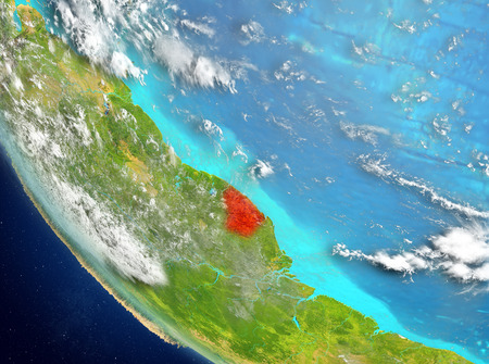 French Guiana from orbit of planet Earth with highly detailed surface textures. 3D illustration. Stock Photo