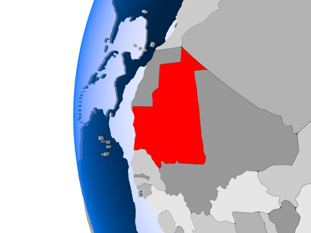 Mauritania in red on political globe with transparent oceans. 3D illustration. Stock Photo