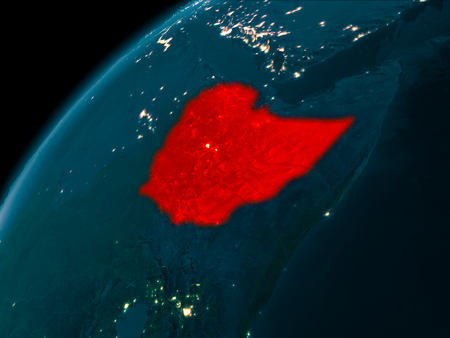 Night map of Ethiopia as seen from space on planet Earth. 3D illustration.