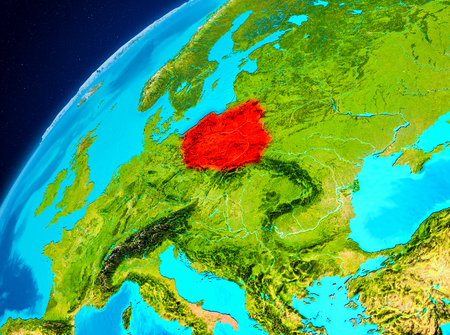 Orbit view of Poland highlighted in red on planet Earth. 3D illustration.