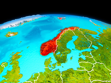 Satellite view of Norway highlighted in red on planet Earth with borderlines. 3D illustration.