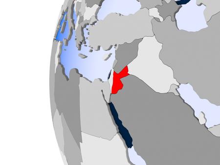 Jordanië in rood op politieke bol met transparante oceanen. 3D illustratie