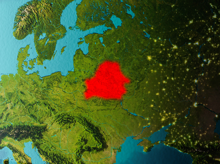 Belarus in early morning light highlighted in red on planet Earth. 3D illustration. Stock Photo