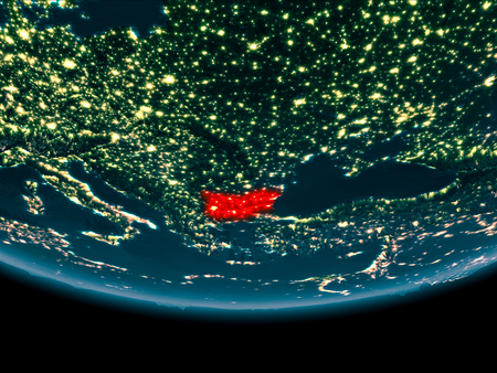 Bulgaria at night highlighted in red on planet Earth. 3D illustration.