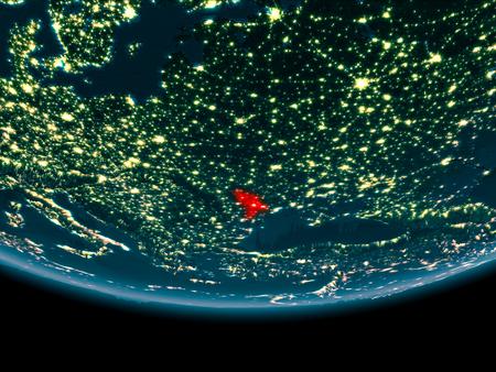 Moldova at night highlighted in red on planet Earth. 3D illustration. Stock Illustration - 93261966