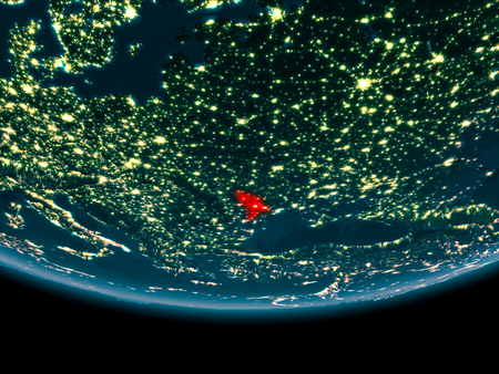 Moldova at night highlighted in red on planet Earth. 3D illustration.