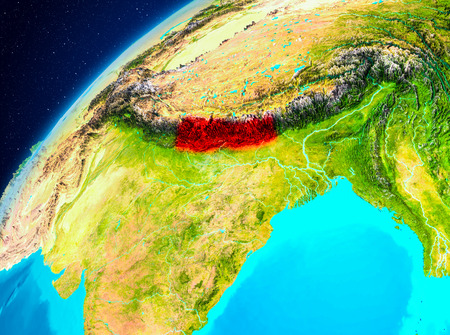 Orbit view of Nepal highlighted in red on planet Earth. 3D illustration.