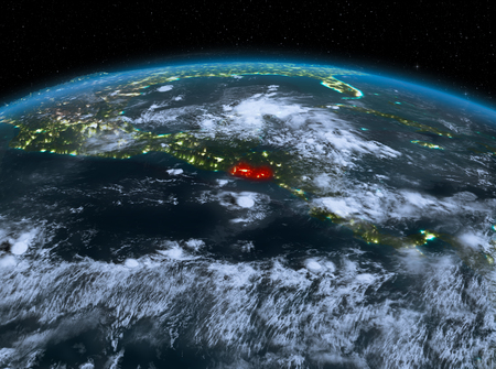 Satellite night view of El Salvador highlighted in red on planet Earth with clouds. 3D illustration. Stock Photo