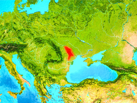 Moldova highlighted in red on planet Earth. 3D illustration. Stock Photo