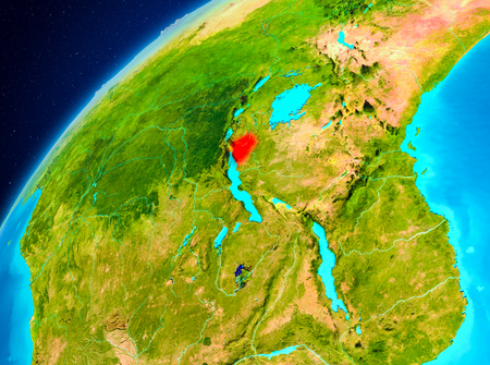 Orbit view of Burundi highlighted in red on planet Earth. 3D illustration.