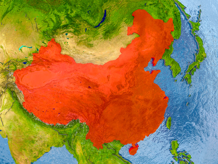 China in red on realistic map with embossed countries. 3D illustration. Stock Photo