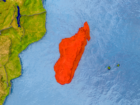 Madagascar in red on realistic map with embossed countries. 3D illustration