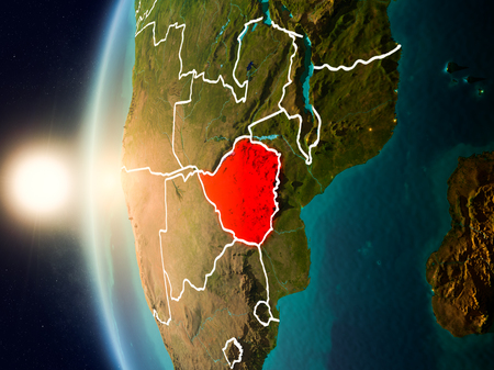 Illustration of Zimbabwe as seen from Earth's orbit during sunset with visible country borders. 3D illustration. Stock Photo