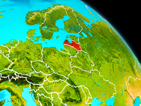 Space orbit view of Latvia highlighted in red on planet Earth with visible borders. 3D illustration.
