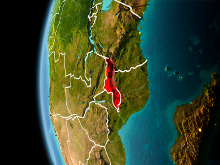 Evening over Malawi as seen from space on planet Earth with visible border lines and city lights. 3D illustration.
