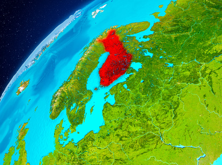Orbit view of Finland highlighted in red on planet Earth. 3D illustration.