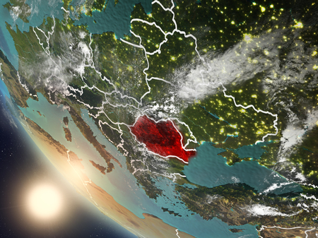 Illustration of Romania as seen from Earth's orbit during sunset with visible country borders. 3D illustration.