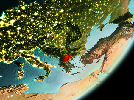 Macedonia in the morning highlighted in red on planet Earth. 3D illustration. Stock Photo