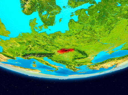 Slovakia from orbit of planet Earth. 3D illustration Stock Photo