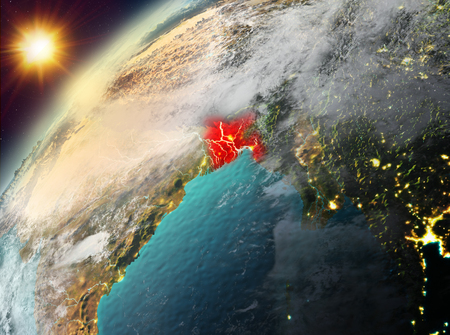 Illustration of Bangladesh as seen from Earth's orbit during sunset. 3D illustration