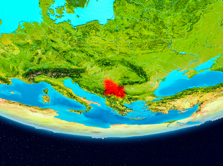 Serbia from orbit of planet Earth. 3D illustration