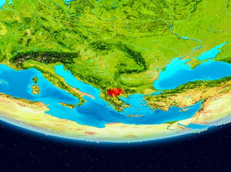 Macedonië vanuit een baan om de aarde. 3D illustratie